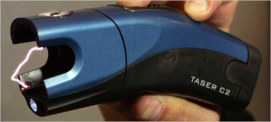 TASER C2, without cartridge can be used as direct contact stun gun.
