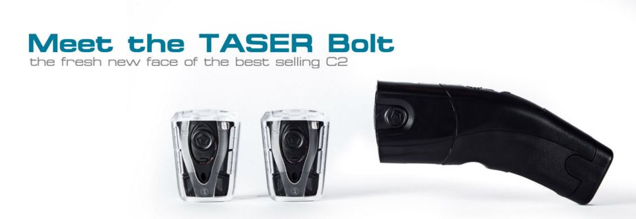 The Taser Bolt features 15 ft. range, 30 second energy burst, bright LED flashlight, 2 live cartridges, integrated laser, and power supply magazine (50 uses).