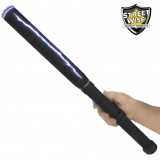This 18 inch stun baton combines a bright LED flashlight, grab guard stun strips, rubberized armor coating, and holster.