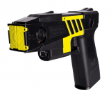 TASER M26c includes: 50,000 volts power, laser sight, 15 ft. shot range, 4 live cartridges, battery magazine (with batteries), & training manual to get you started.