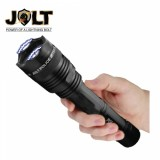 This tactical stun gun flashlight features shock proof exterior, blinding light, safety features, is rechargeable and includes a heavy duty belt clip.