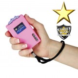 This powerful stun gun is rechargeable and features bright LED light and safety switch with disable pin.