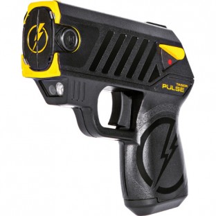 The Taser Pulse features laser assisted targeting, iron sights, 15 ft. range, 30 second energy burst, bright LED flashlight, 2 firing cartridges, and battery pack good for 50 uses.
