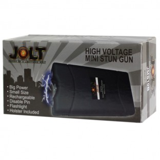 Rechargeable stun gun with bright LED light, disable pin, safety switch, and holster for easy carrying.