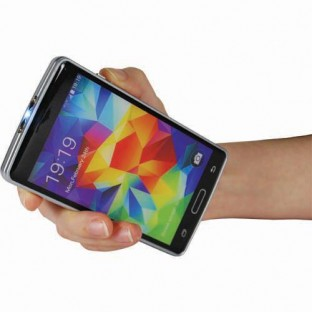 This cell phone stun gun looks exactly like a smartphone for discrete protect, features 12 million volts of stopping power, a bright flashlight, is rechargeable and includes a carrying case.