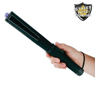 Heavy duty Streetwise rechargeable stun baton with bright LED flashlight, grab guard stun strips, rubberized armor coating, safety switch, and holster.