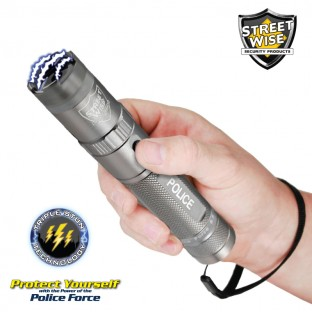 This tactical stun flashlight features police strength protection, triple stun technology, shock proof exterior, no slip grip, blinding LED light, safety features and holster.