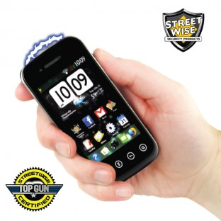 Slim design stun gun cell phone with bright LED light, disable pin, is rechargeable, and comes with a holster for easy carrying.