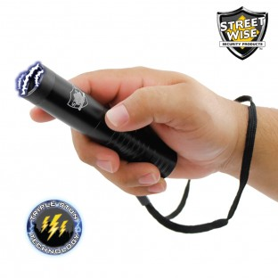 "This 5.5"" stun flashlight is compact and features triple stun technology, an ultra bright LED light, is rechargeable, has a safety switch and includes a holster and wrist strap for easy carrying."