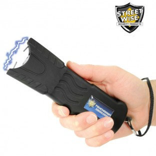This stun gun features bright LED light, safety switch, disable pin, built-in charger, and holster for easy carrying.