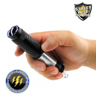 This stun gun is disguised as a E-Cig giving you discrete protection. It features triple stun technology, blinding LED light, is rechargeable, and has a safety switch.