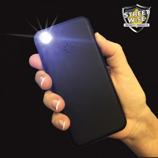 This high-voltage stun gun is disguised as a smart phone, it incorporates a loud alarm for an added level of safety, features a bright LED flashlight and is rechargeable.