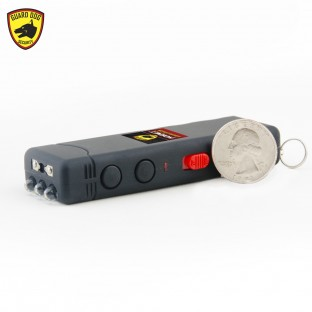 This keychain stun gun is high voltage, features a bright LED flashlight, safety switch, is rechargeable and includes a holster.