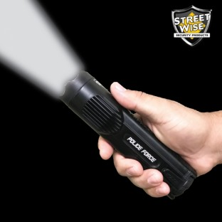 This stun flashlight features a blinding 3 watt XPE LED light, is water resistant, rechargeable, and comes with a holster.