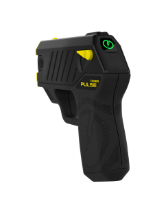 The Taser Pulse features laser assisted targeting, iron sights, 15 ft. range, 30 second energy burst, bright LED flashlight, 2 firing cartridges, and battery pack good for 50 uses.previousnextclose