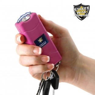 Powerful keychain stun gun with built-in charger, bright LED light and safety switch, perfect for walking to your car or home at night. Available in Black or Pink.