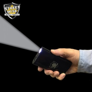 This powerful and discreetly designed stun gun features a bright 180 lumen XPE Cree LED flashlight, incorporates a large capacity 5200 mAh power bank to power your devices, has a safety switch and is rechargeable.