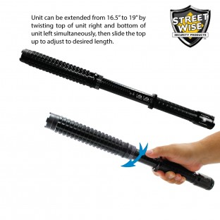 "This stun baton is adjustable from 16.5"" to 19"" long, features triple stun technology, ultra bright LED light with 5 light modes, is rechargeable, has two levels of safety, and includes a holster with belt loop."