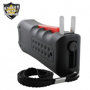 This stun gun mixes the best features in one device with squeeze and stun technology, loud 120dB alarm, safety switch and disable pin, is rechargeable and includes a holster for easy carrying.