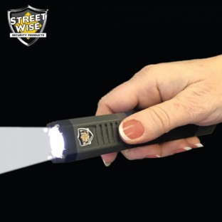 This powerful stun gun flashlight features a bright 180 lumen XPE Cree LED flashlight, five light modes, is rechargeable, and with it's newly design high-voltage ignition coil has increased stun power.