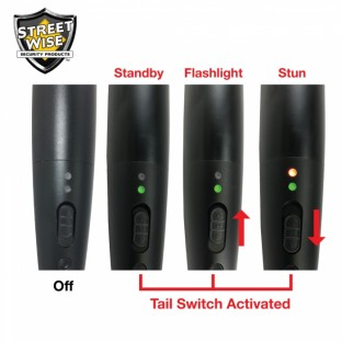This stun baton features a 16 inch long reach, blinding 380 lumen flashlight with 5 light modes, has a military grade aluminum alloy exterior, and is rechargeable.