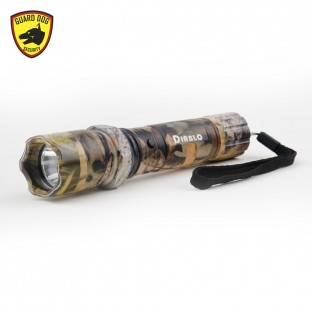The Diablo is a high voltage self defense device with ultra-bright flashlight, aluminum alloy body, emergency glass breaker beveled edge, is rechargeable, and has a safety switch.