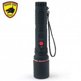 This stun high voltage stun gun features LED flashlight, rubberized non-slip body for secure grip, safety switch, is rechargeable, and includes a holster and safety cap.