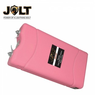 This powerful stun gun is rechargeable and features a bright LED flashlight, safety switch, a disable pin, and holster.