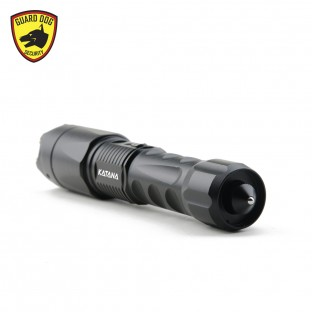 This high voltage stun gun features ultra-bright 400 lumen flashlight, 3.6 milliamps, steel-point tail striker, aluminum alloy body, safety switch, is rechargeable, and includes a holster.