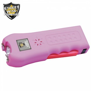 This stun gun features 21 Million Volts, squeeze and stun technology, loud 120dB alarm, safety switch and disable pin, is rechargeable and includes a holster for easy carrying.