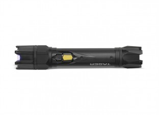 The Taser StrikeLight is a high voltage stun flashlight with a powerful 80 lumen flashlight, rechargeable battery, and wrist strap for easy carrying.